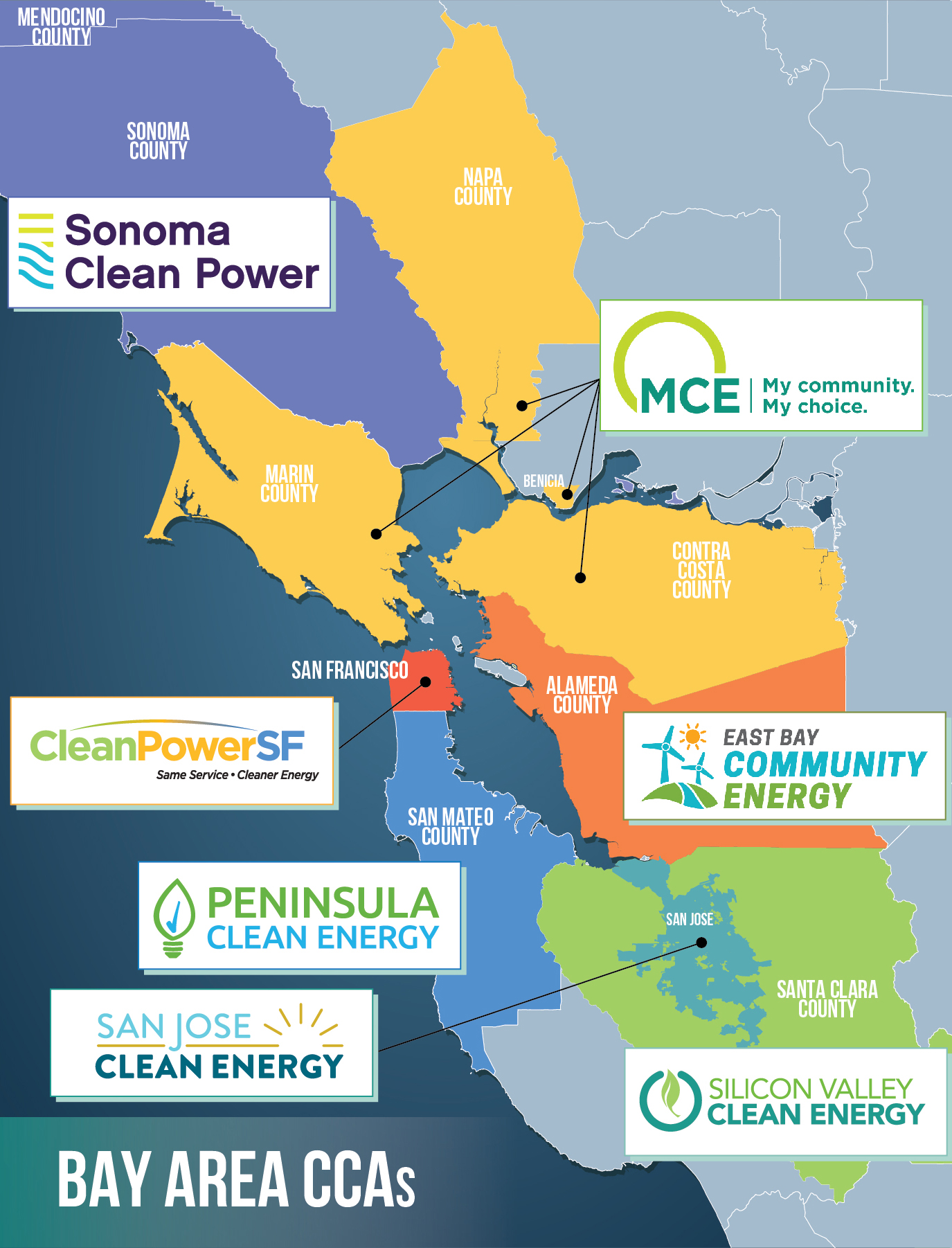 Bay Area Clean Energy Employee Challenge Calcca Alameda contra costa marin napa san francisco san mateo santa clara solano sonoma these nine counties include 101 cities, 7.4 million inhabitants and approximately 7,000 square miles of land. bay area clean energy employee